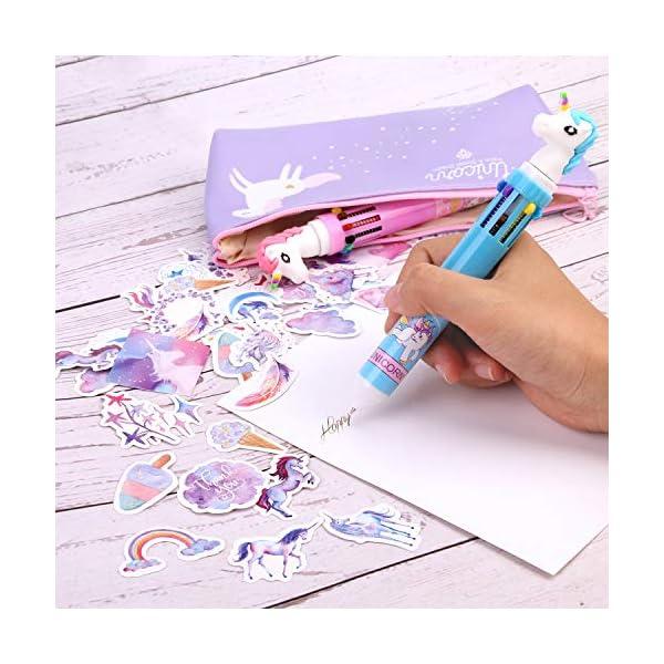 Howaf Unicornio Estuche Lápices Set para Niña Escolares con Linda Unicornio Estuches, Unicornio Bolígrafos Pegatinas, Estuche Papelería Bolígrafo Bolso para Niña Estudiante Escuela Regalo Artículos