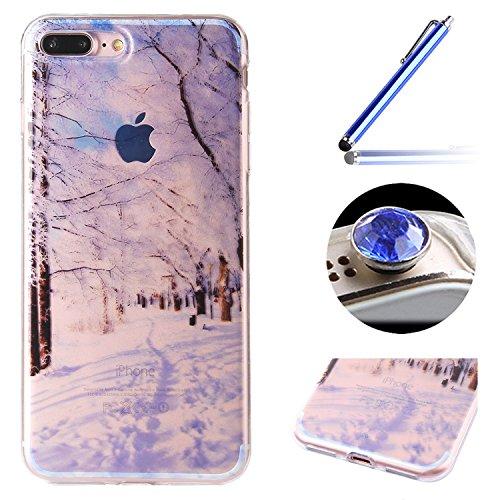 Etsue Doux Protecteur Coque pour iPhone 7 Plus,TPU Matériau Frame est Transparent Soft Cover pour iPhone 7 Plus,Coloré Motif par Dessin de Mode Case Coque pour iPhone 7 Plus + 1 x Bleu stylet + 1 x Bling poussière plug (couleurs aléatoires)- Neige Arbre