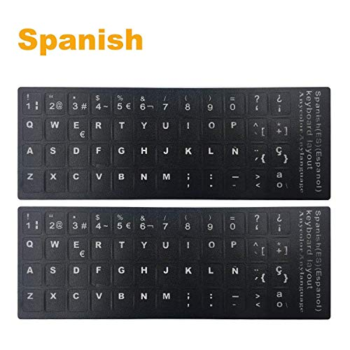 "[2PCS Pack] FORITO Spanish Keyboard Stickers, PC Keyboard Stickers Black Background with White Lettering for Computer, Each Unit Size: (Width) 0.43"" x (Height) 0.51"" (Spanish)"