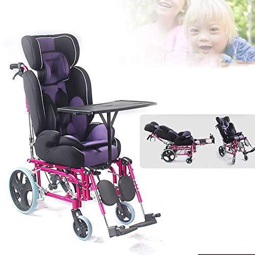 WXDP Silla de ruedas autopropulsada, plegable Full reclinable, manual para niños con parálisis cerebral con respaldo alto, con mesa de comedor