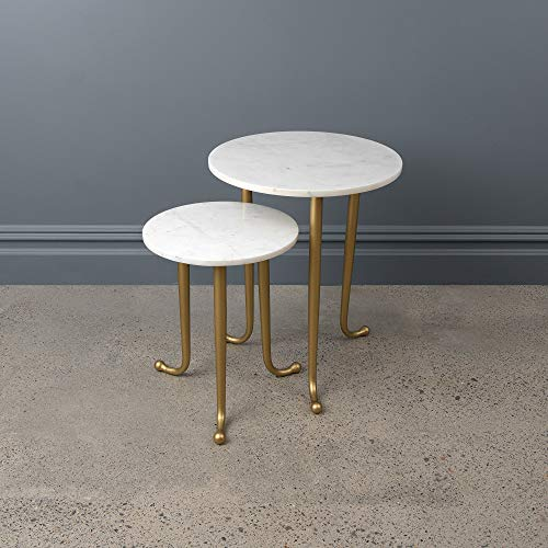 """Best Home Fashion Avenlee Round Marble Nesting Tables - Small: 12-1/2"""" Dia x 16"""" H & Large: 16-3/8"""" Dia x 20"""" H"""