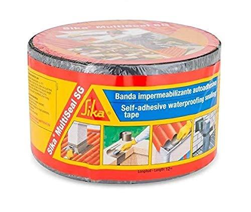 Sika Multiseal SG, Gris, Banda autoadhesiva bituminosa soporte múltiple, para reparación de cubiertas y fisuras en edificios, 15cm x 12ml