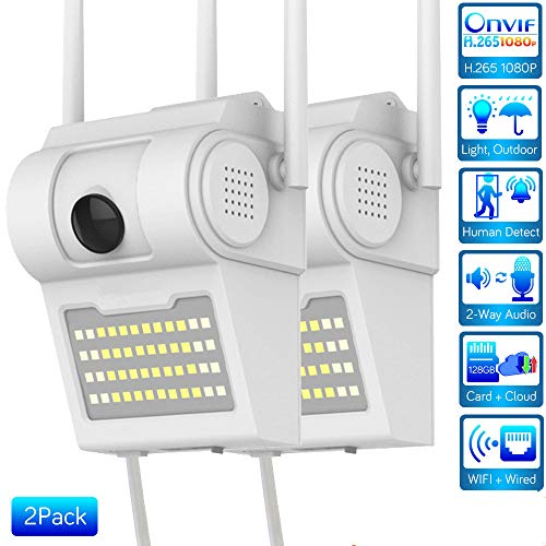 H.265 1080P WiFi Wall Lamp Camera Outdoor Security IP Camera Two Way Audio Floodlight Color Night Vision Wireless Camera iCSee 2X1080P