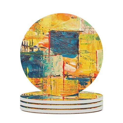 Posavasos de cerámica de color irregular con base de corcho, protector para bar, cristal, regalo de inauguración de la casa, diámetro blanco, 6 unidades