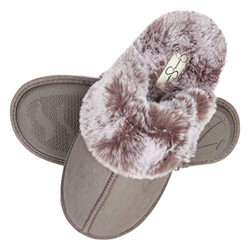 Jessica Simpson Women's Comfy Faux Fur House Slipper Scuff Memory Foam Slip on Anti-skid Sole, Grey, X-Large