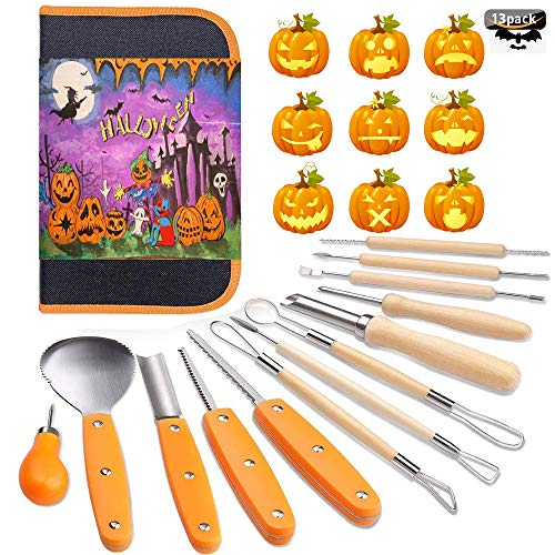 Halloween Pumpkin Carving Tools Kit, 13 Piece Professional...