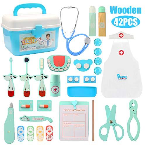 Vanplay Kinderen Artsenset Houten Tandarts Gereedschapsset met Stethoscoop Arts Medische Draagtas voor Kinderen (42st)