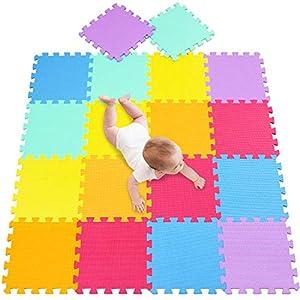 meiqicool - Alfombrilla de Espuma para bebés y niños | 18 baldosas de Espuma EVA para Piso | más Gruesas y Suaves para Arrastrar y Aprender | 100% seguras, Alfombra Puzzle Bebe