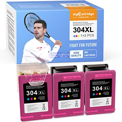 MyCartridge PHOEVER 304XL - Cartuchos de tinta remanufacturados compatibles para HP 304 XL para HP DeskJet 2620 2630 3720 3730 3735 HP Envy 5020 5030 5032 (3 colores)