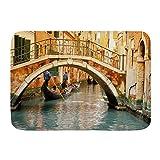 WOTAKA Alfombra de baño,Góndola del Puente Antiguo de Venecia,Estera de la Puerta de la Estera del baño Antideslizante Engrosada Absorbente