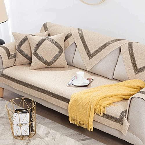 HZYDD Fundas de sofá antideslizantes de color sólido, de hilo de algodón Tejido de sofá de la vendimia europea de cuatro estaciones de PET perro sofá protector (1 pieza) color crema 1pc-70x150cm