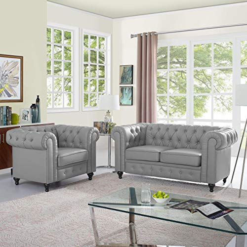 Naomi Home Emery Chesterfield Love Seat & Accent Chair with Rolled Arms, Tufted Cushions Gray