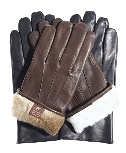 Fratelli Orsini Everyday Men's Our Bestselling Italian Rabbit Fur Gloves Size M Color Black/Natural Fur