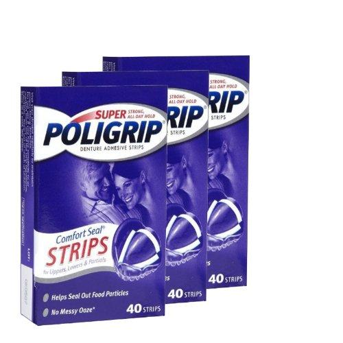 Super Poli-Grip Komfort Siegelstreifen, 40Streifen (3 Packungen)
