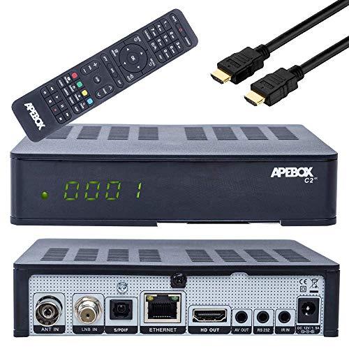 Receptor de satélite Apebox C2 4K UHD H.265 DVB-S2X DVB-C/T2, IPTV, LAN, lector...