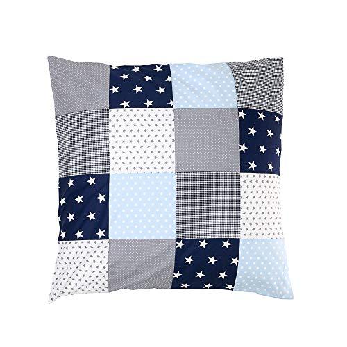 ULLENBOOM ® Housse de Couette Bébé Patchwork 80x80 cm Bleu Clair Gris (Housse d'édredon en coton pour bébé, Motifs étoiles, pois & vichy)