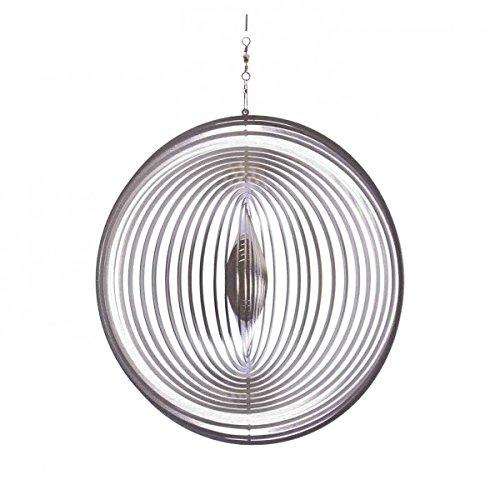 Illumino Windspiel KREIS GROSS für den Garten aus Edelstahl | Fantastische Lichtreflektion durch feine Lamellen aus Rostfreiem Metall | Garten-Dekoration für draußen zum Aufhängen | 175 mm Durchmesser