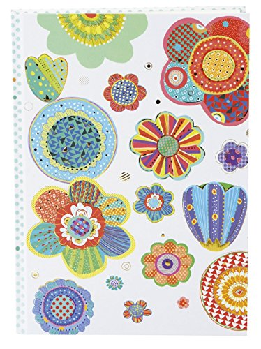 goldbuch 64409 Notizbuch DIN A5 Mosaic Flower im Turnowsky Design, Kladde mit 200 creme Seiten, Papier blanko, mit Kunstdruckpapier Einband, Relief, Goldprägung und Lesezeichen, ca. 15x 22 cm