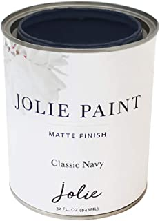 Jolie Paint - Matte Finish Paint for Furniture, cabinets, Floors, Walls, Home Decor and Accessories - Water-Based, Non-Toxic - Classic Navy - 32 oz (Quart)