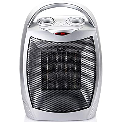 Ceramic Portable Space Heater 750/1500W Electric Quiet Heater with Adjustable Thermostat and Overheat Protection