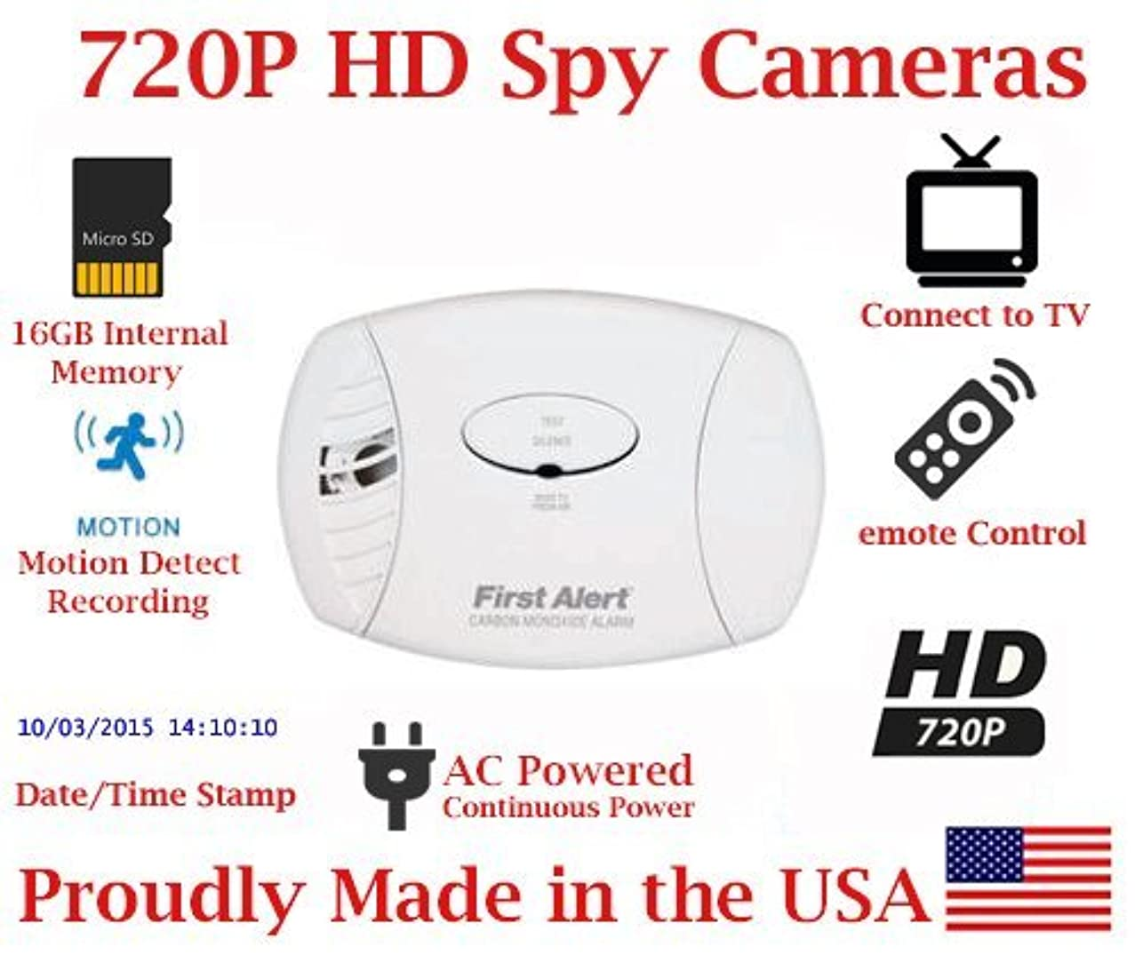 SecureGuard Carbon Monoxide Spy Camera High Resolution SD Card Video Recorder DVR Spy hidden camera