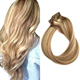 Clip in Hair Extensions Human Hair Blonde Highlights 70grams 15' Short Straight Full Head Remy Clip in Balayage Extensions 7 Pieces, 12/613