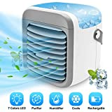 Portable Air Conditioner Fan | ALLYAG Evaporative Air Cooler with Humidifier & Filtration Function | Personal Small Air Conditioner Desk Fan with 7 Color Night Light Waterbox for Home Office Bedroom…
