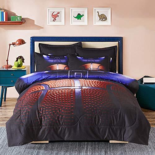 Sisher 3D Basketball Comforter Full(78x90 Inch), 3 Pieces(1 Basketball Comforter, 2 Pillowcases) Sport Microfiber Bedding Set Printed Quilt Comforter Set for Teens Boys Kids