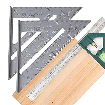 7 Inch Rafter Square, Square Layout Tool with 12 Inch Combination Square, Multi Angle Measuring Ruler, Aluminum Alloy Carpenter Square/Layout Tools Angle Scale-Easy-Read