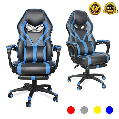 LUCKWIND Video Gaming Chair Racing Recliner - Ergonomic Adjustable Padded Armrest Swivel High Back Footrest with Headrest Lumbar Support PU Leather Breathable Seat Cushion Home Office (Black & Blue) blue chair gaming