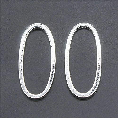 WANM Colgante 10 Uds, Abalorios Colgantes De Metal con Círculo Ovalado Liso, Fabricación De Joyas DIY, Color Plateado Antiguo, 34X15Mm