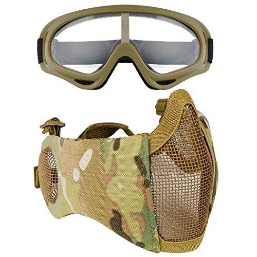 Fansport Máscara máscara de Malla de Acero Media máscara de protección Ear L mascarilla Ajustable Airsoft con Gafas al Aire Libre