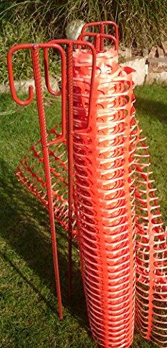 UvV-Shop (ES-Team Consult GmbH) Set 4 Absperrhalter und 10 Meter Fangzaun, Absperrnetz, Maschenzaun, Bauzaun auf Rolle Kunststoff extrem Reissfest, 150 gr qm