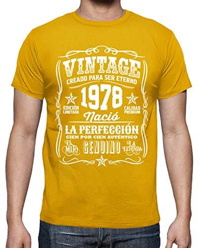 latostadora - Camiseta Vintage 1978 la para Hombre Amarillo Mostaza 4XL