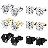 Thunaraz 6 Pairs Stainless Steel Stud Earrings for Men Women CZ Earrings,3-8MM