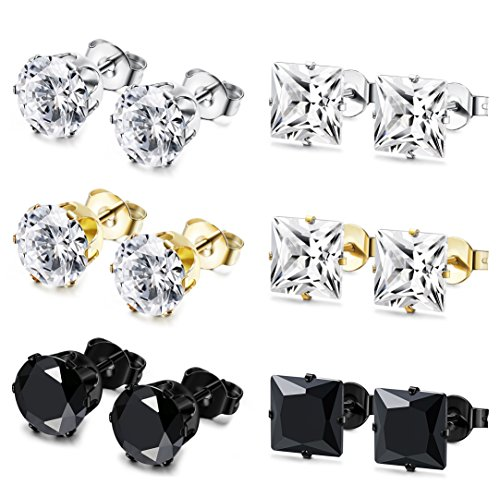 Milacolato 6 Pairs Stainless Steel Stud Earrings for Men Women CZ Earrings 3-8MM