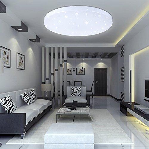 VINGO® 16W LED Deckenbeleuchtung rund Deckenlampe Starlight Effekt schön Wohnraum Wohnzimmer Lampe Weiß
