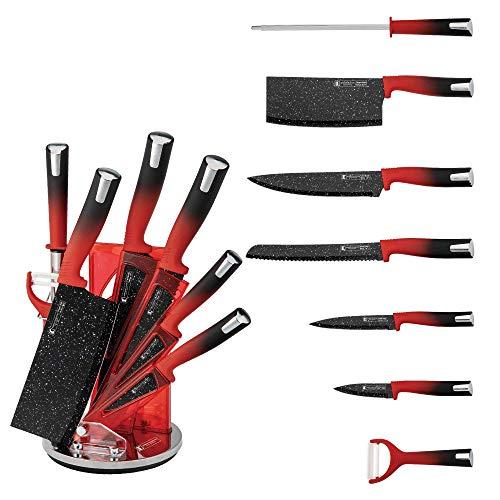 IMPERIAL COLLECTION Set Couteaux DE Cuisine avec Socle TOURNANT 360* Acier Inoxydable REVETEMENT MARBRE