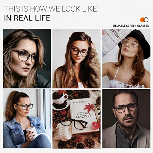 TIJN Blue Light Blocking Glasses for Women Men Clear Frame Square Nerd Eyeglasses Anti Blue Ray Computer Screen Glasses