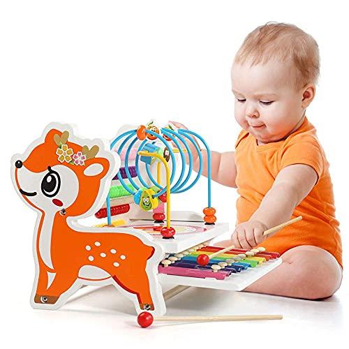 Nukdey Holz Xylophon Musikinstrumente für Kinder  Holzperlenlabyrinth Abakus und Xylophon  Musikspielzeug aus Holz für Kinder ab 1.2.3 Jahren