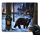Smooffly Gaming Mouse Pad Custom,Winter Bear Non-Slip Rubber Large Mouse pad