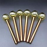 4 pulgadas de longitud 10 piezas de tubo de quemador de aceite de vidrio Pyrex Tubo de mano de colores gruesos Accesorios para fumar Bong Pipe Dab Oil Rig (Orange)