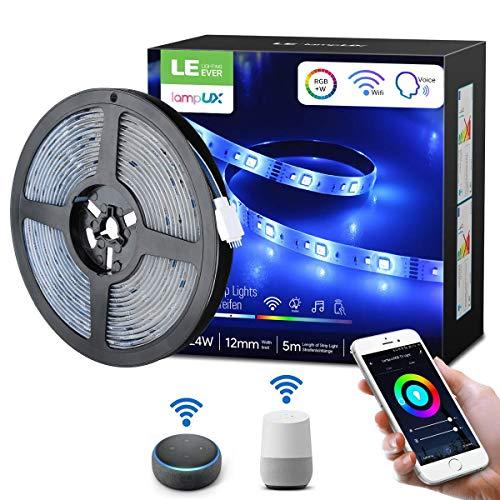 LE Tira de Luz WiFi, Tira LED 5M RGBW, Tira LED WiFi 300 LED 1680lm IP65, Control de Voz & APP, Multicolor Regulable, Luz Tira Inteligente Compatible con Alexa, Google Home y IFTTT, No se Requiere Hub