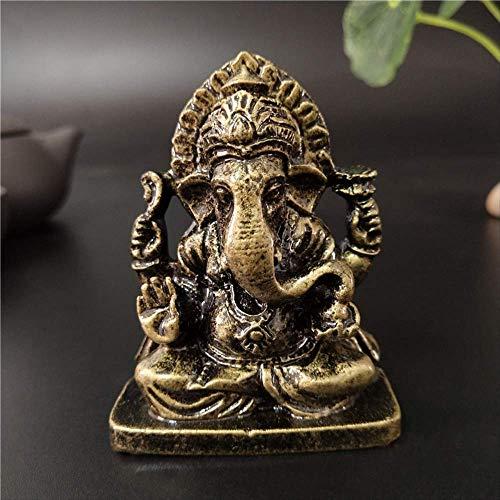 LISAQ Estatua de Ganesha Buda Elefante Dios Escultura Figuras de Ganesh Resina Artesanía