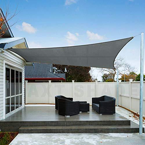 AXT SHADE Sonnensegel Wasserabweisend Rechteck 3x4m, Sonnenschutz imprägniert PES Polyester mit UV Schutz für Terrasse, Balkon und Garten- Graphit