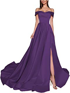Women's Off The Shoulder Split Prom Dresses with Pockets Long Formal Evening Ball Gowns PR055