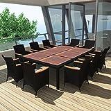 Tidyard Garten Essgruppe Poly Rattan Gartenmöbel Set Sitzgruppe Tischplatte für 10 Personen Schwarz 200×150cm