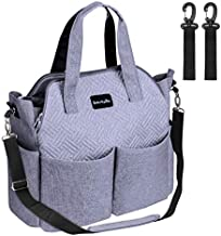 Diaper Bag, Multifunction Travel Tote Diaper Bag for Mom and Dad,Multi-Compartment Baby Bag for Boys and Girls , Insulated Pockets,Large Capacity-Grey