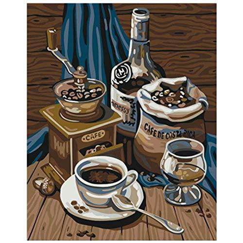 Digitale Malerei Diy Delicious Kaffee Stillleben Wandbild Hochzeitsdekoration Acrylbild-40X50Cm-Eingerahmt