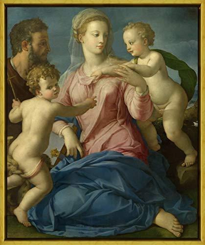 Berkin Arts Rahmen Agnolo Bronzino Giclée Leinwand Prints Gemälde Poster Wohnkultur Reproduktion(Die heilige Familie mit dem Säuglingsheiligen Johannes der Täuferin Madonna strogan ab) #XLK